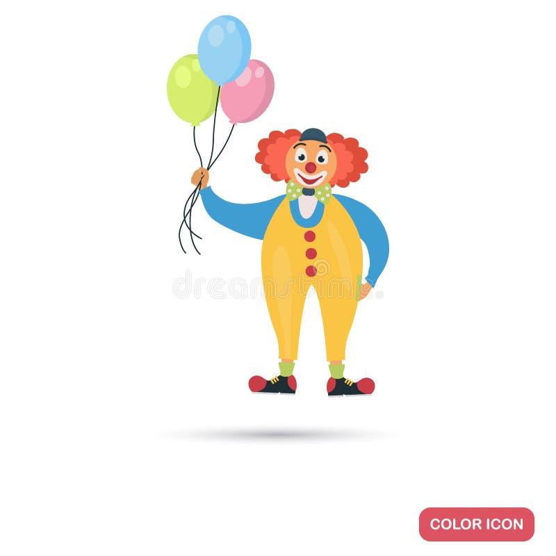 Cyrkowy błazen z lotniczymi balonami barwi płaską ikonę ilustracja wektor