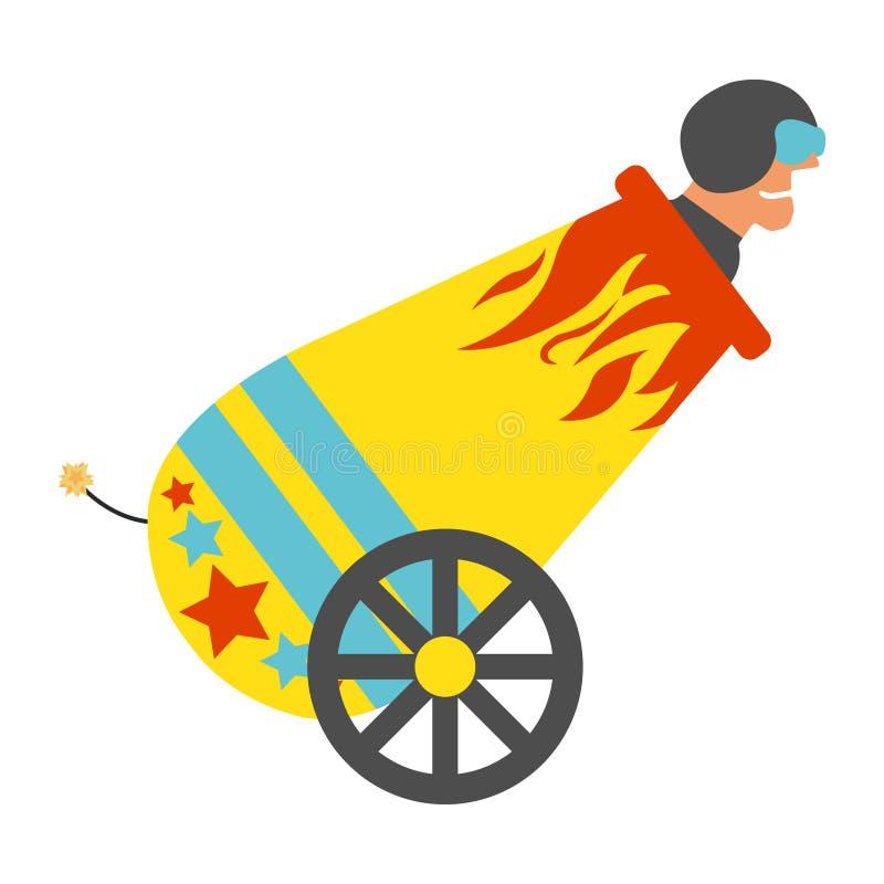 Cyrkowy działo z ludzką cannonball ikoną Rocznika wektoru illustr royalty ilustracja
