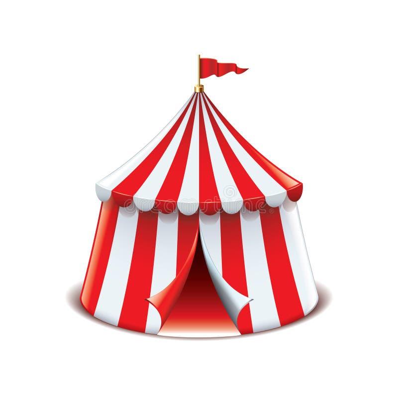 Cyrkowy namiot odizolowywający na białym wektorze ilustracji
