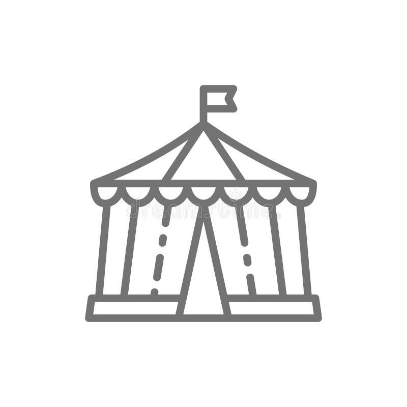 Cyrkowy namiot, park rozrywki kreskowa ikona royalty ilustracja
