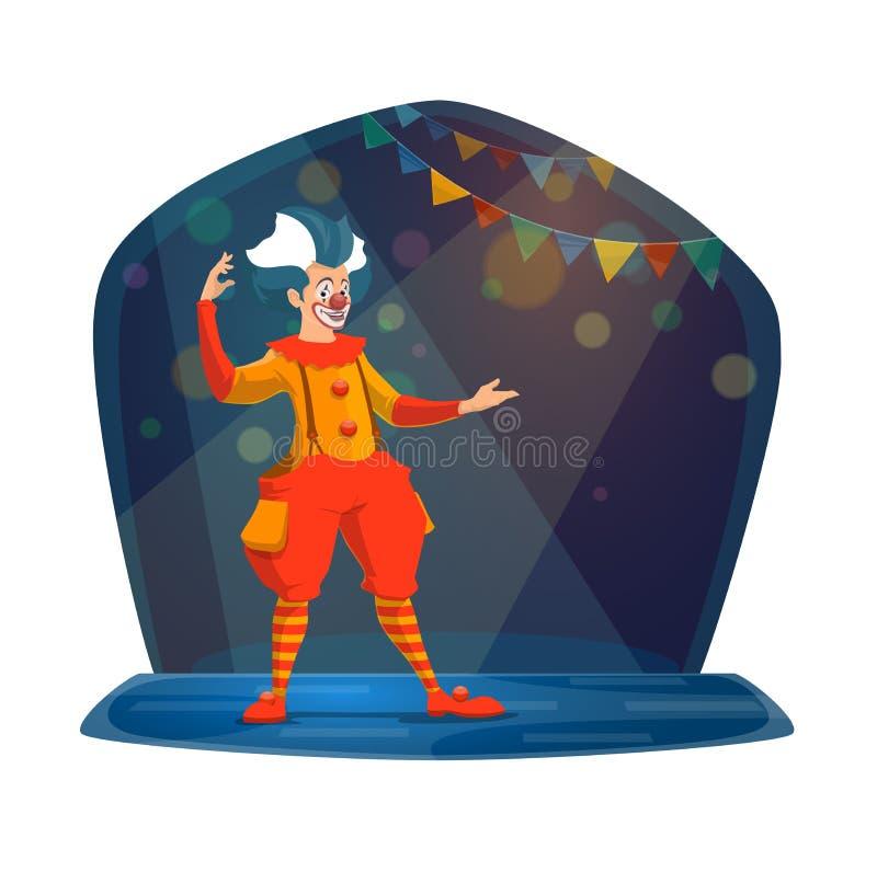 Cyrkowy przedstawienie błazen w jaskrawym kostiumu i makeup ilustracji