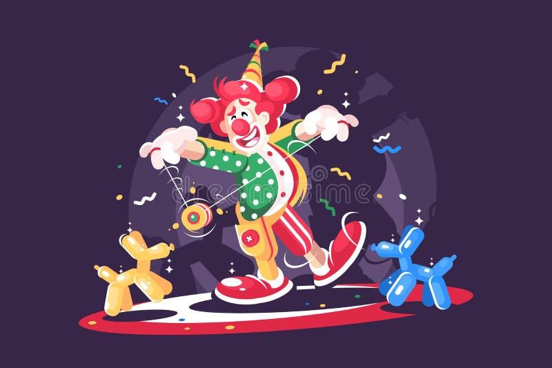 Cyrkowy przedstawienie z ślicznym błazenem i balonowymi zwierzętami ilustracja wektor
