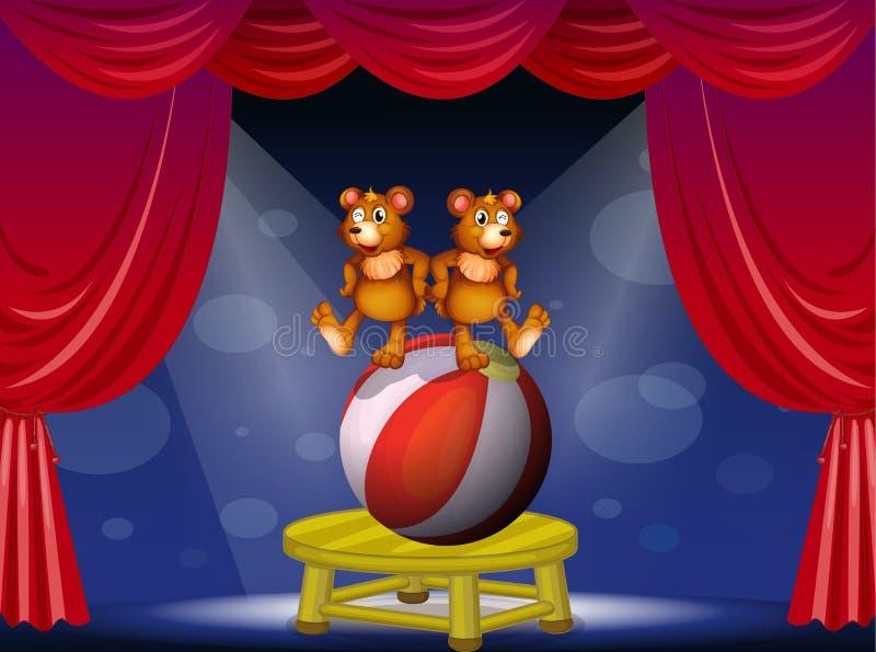 Cyrkowy przedstawienie z dwa niedźwiedziami ilustracji