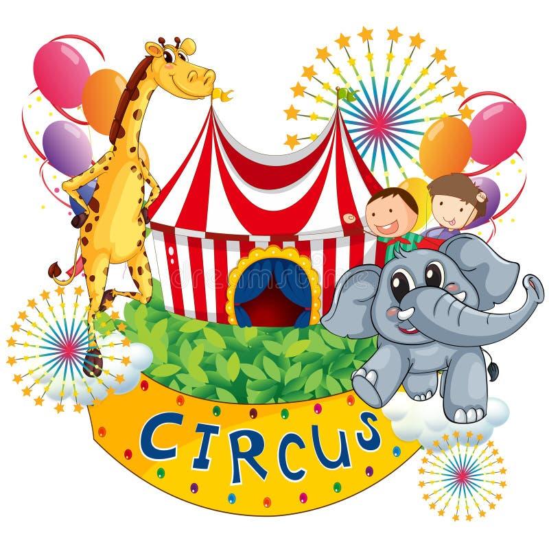 Cyrkowy przedstawienie z dzieciakami i zwierzętami ilustracja wektor