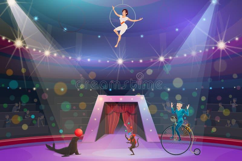 Cyrkowy przedstawienie, zwierzęta i wykonawcy na arenie, royalty ilustracja