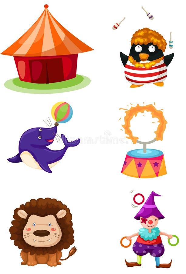 cyrkowy set ilustracji