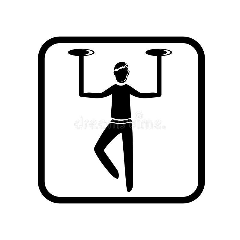 Cyrkowy wyczyn kaskaderski ikony wektor odizolowywający na białym tle, Cyrkowy wyczynu kaskaderskiego znak, wakacyjne ilustracje ilustracja wektor