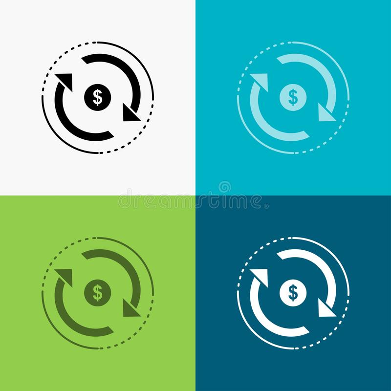 Cyrkulacja, finanse, przepływ, rynek, pieniądze ikona Nad Różnorodnym tłem glifu stylu projekt, projektuj?cy dla sieci i app 10 e ilustracja wektor