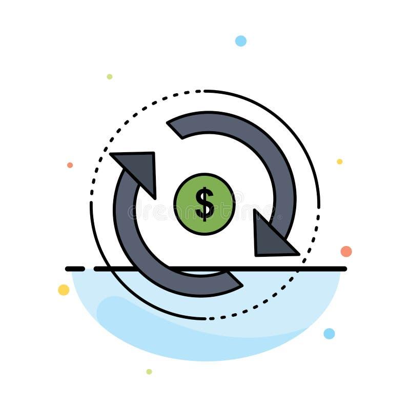 Cyrkulacja, finanse, przepływ, rynek, pieniądze koloru ikony Płaski wektor royalty ilustracja