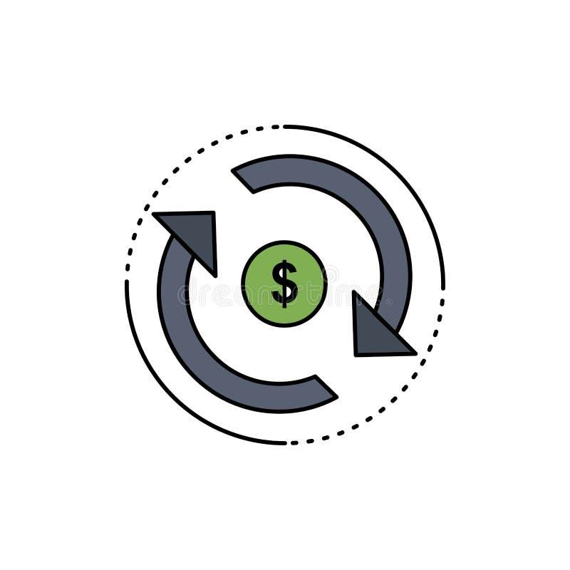 Cyrkulacja, finanse, przepływ, rynek, pieniądze koloru ikony Płaski wektor ilustracja wektor
