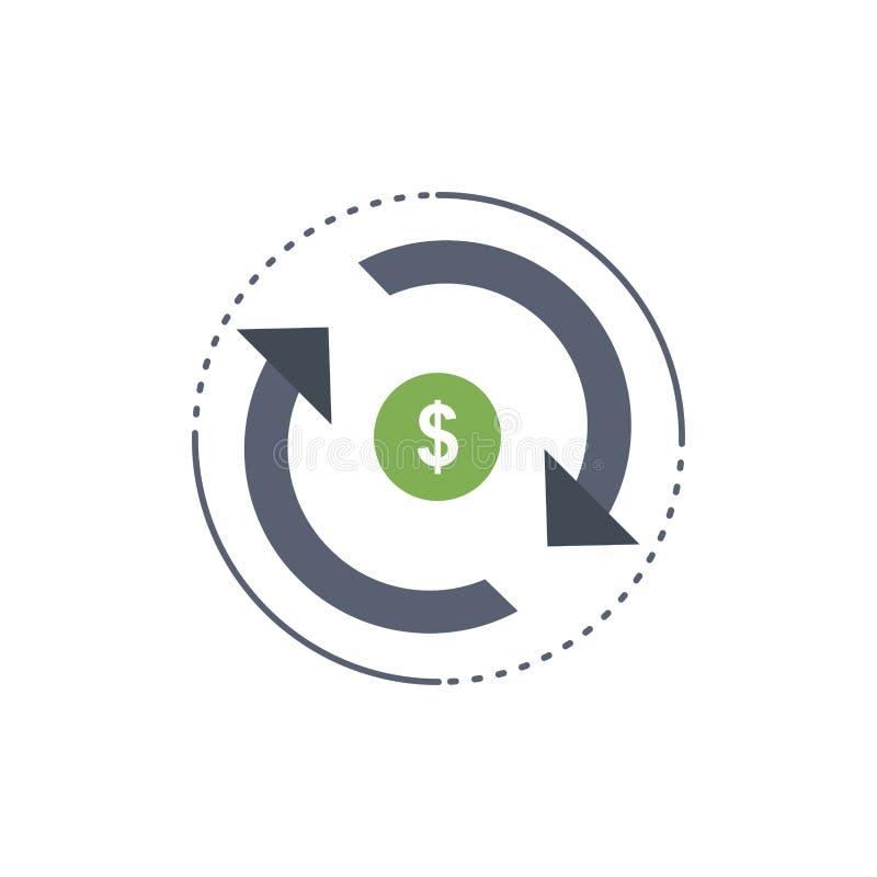 Cyrkulacja, finanse, przepływ, rynek, pieniądze koloru ikony Płaski wektor ilustracji