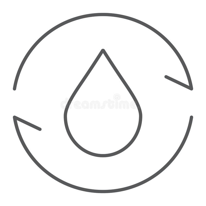 Cyrkulacyjnego gazu cienka kreskowa ikona, środowisko i paliwo, natura przetwarzamy szyldowe, wektorowe grafika, liniowy wzór na  royalty ilustracja