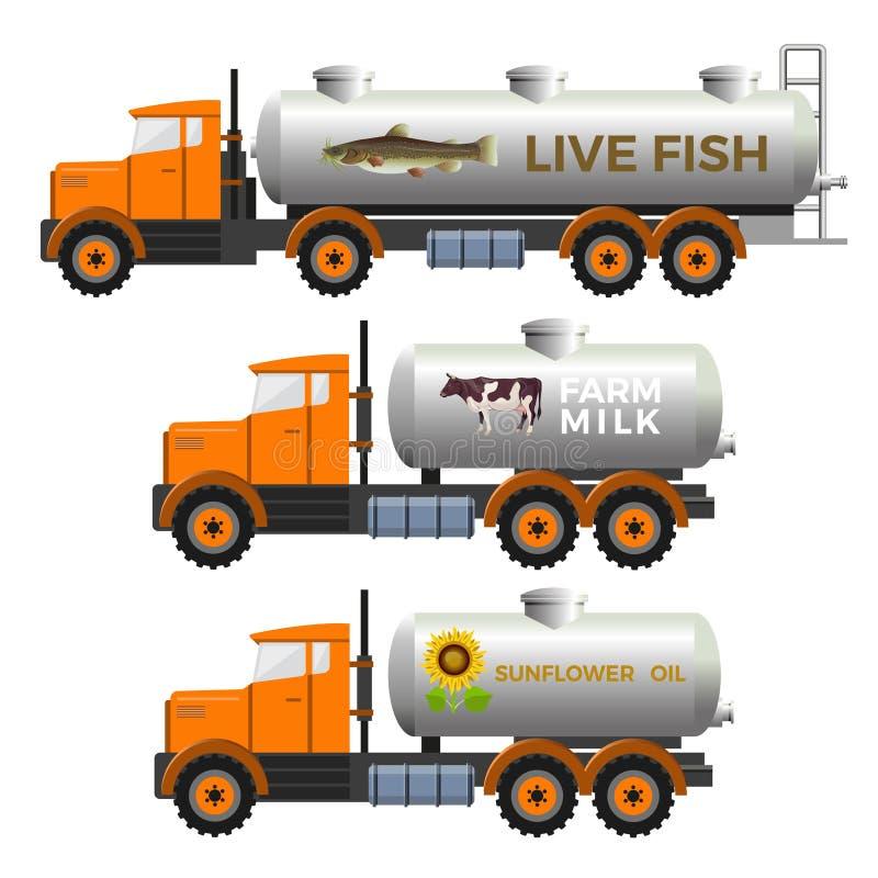 Cysternowe ciężarówki ustawiać royalty ilustracja