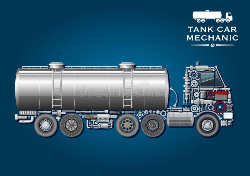 Cysternowej ciężarówki symbol robić machinalne części ilustracji