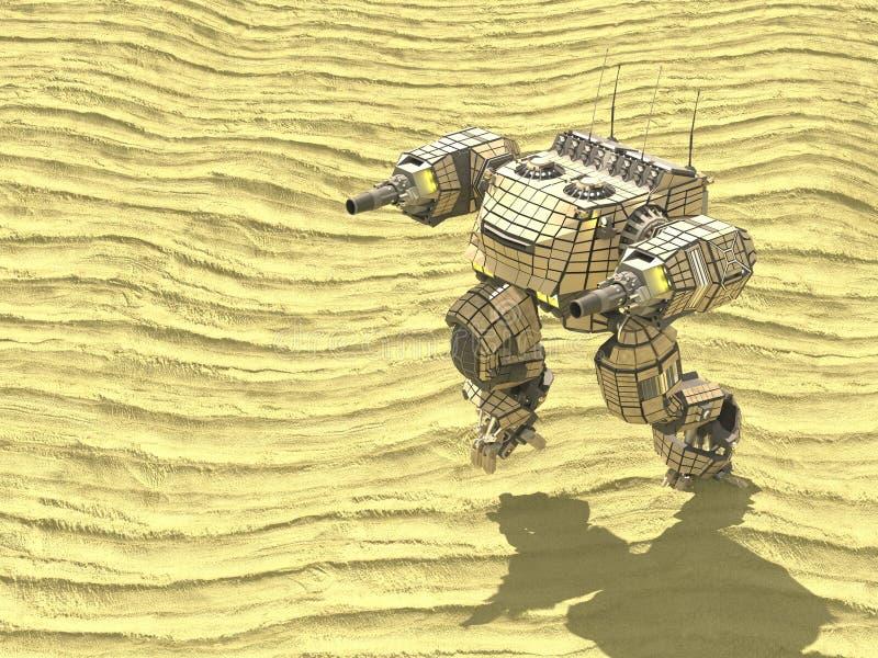 Cysternowy robot w pustyni, 3d, odpłaca się ilustracji