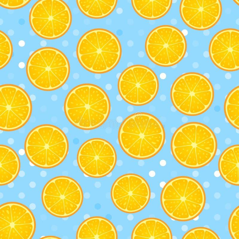 Cytrusa round kawałek Cytryna i pomarańczowy bezszwowy wzór Wektorowa ilustracja na błękitnej polki kropce textured ilustracja wektor