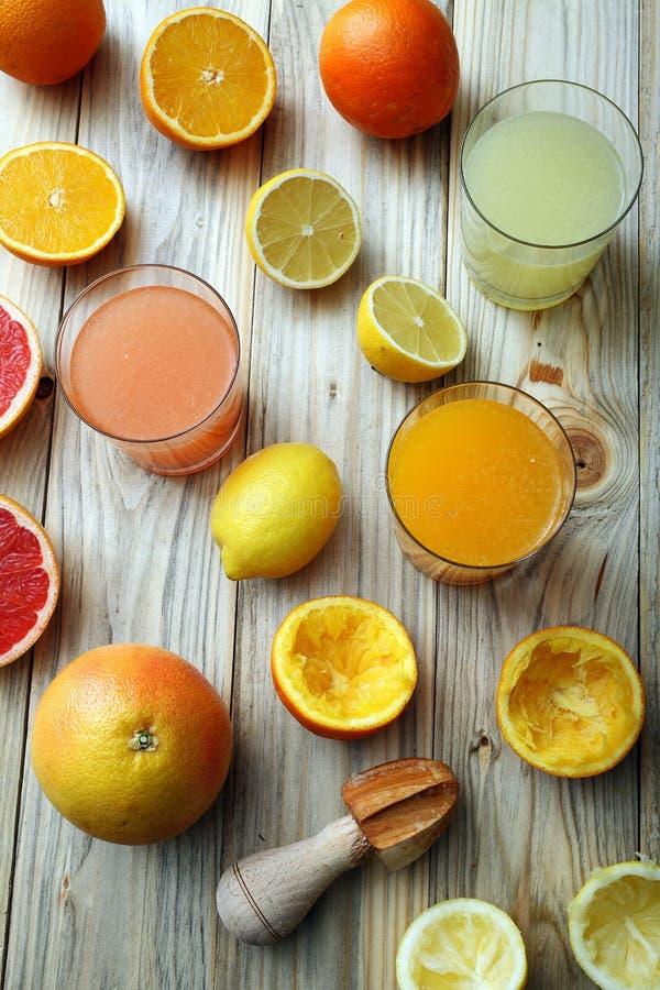 Cytrusa sok trzy grapefruitowego i obraz stock