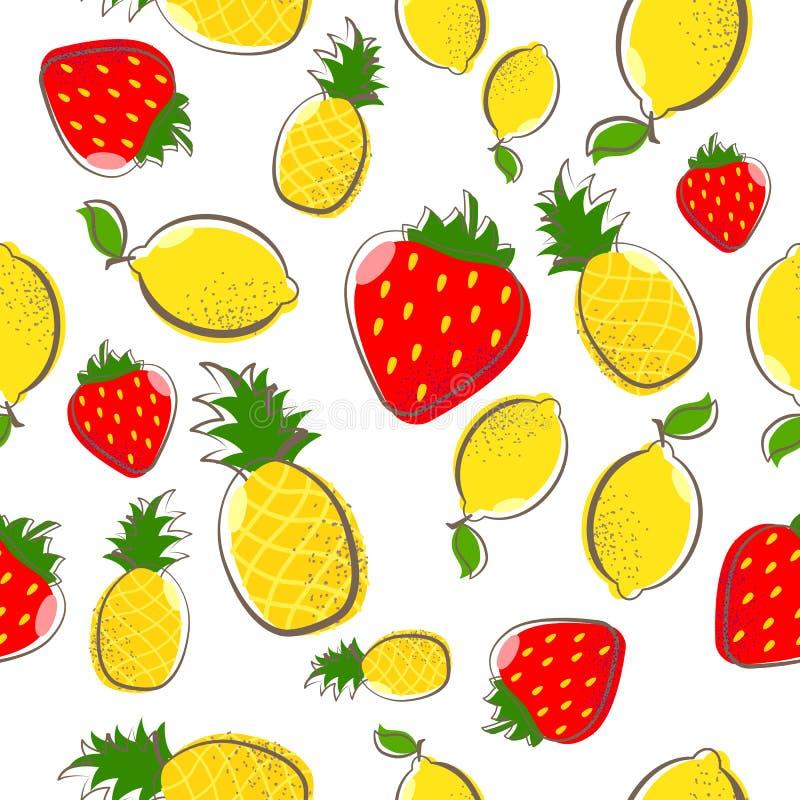 Cytryna ananasowy truskawkowy owocowy bezszwowy wzór royalty ilustracja