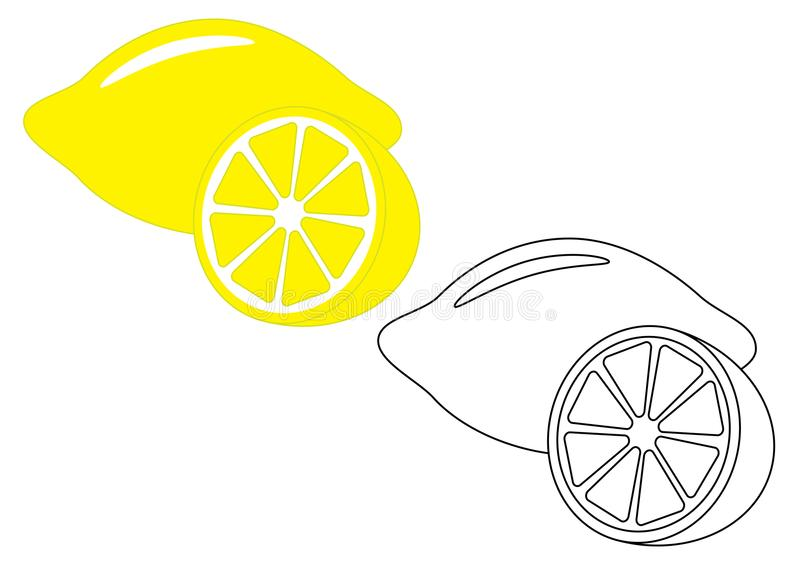 Cytryna, owoc Barwić stronę, gra dla dzieciaków również zwrócić corel ilustracji wektora ilustracji