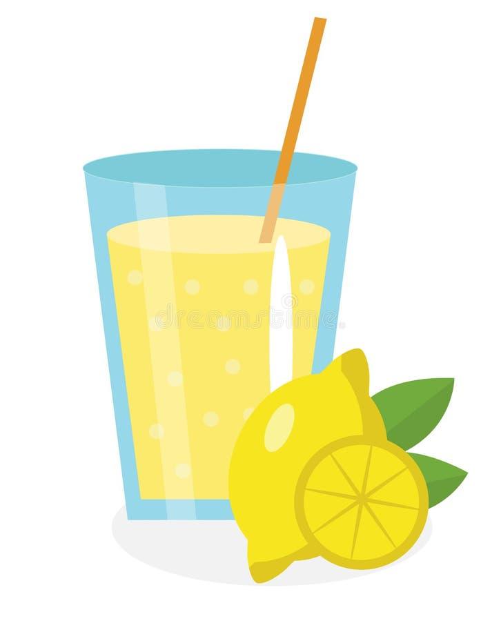 Cytryna sok, lemoniada, w szkle Świeży odosobniony na białym tle owoc i ikona ilustracja wektor