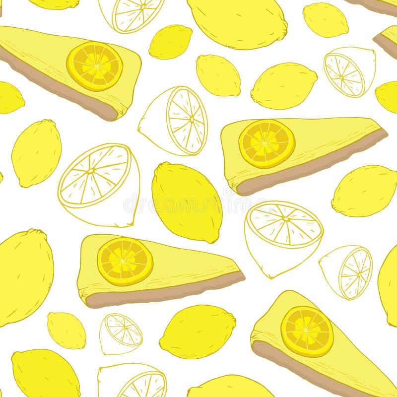 Cytryna tort i cytryna wektoru bezszwowy wzór ilustracja wektor