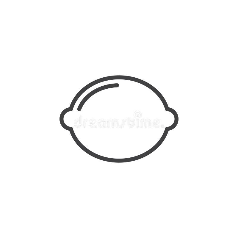 Cytryna, wapno kreskowa ikona, konturu wektoru znak, liniowy stylowy piktogram odizolowywający na bielu ilustracji