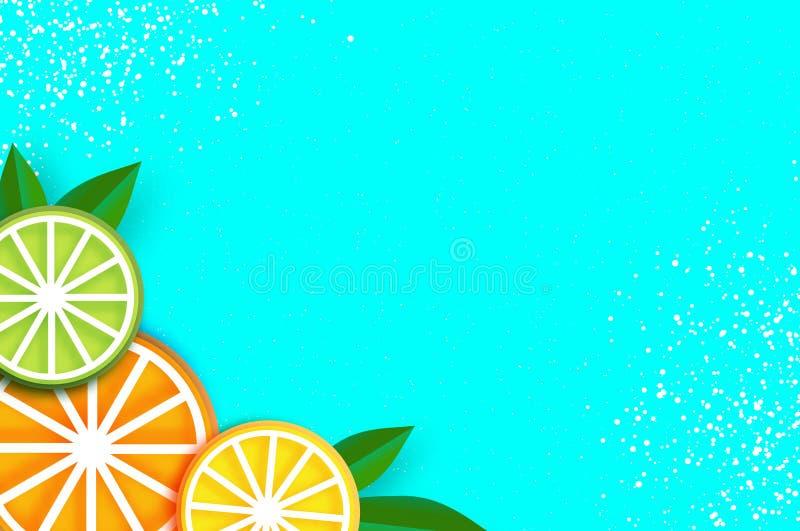Cytryna, wapno, pomarańcze w papieru cięcia stylu Origami soczyści dojrzali plasterki Liście Zdrowy jedzenie na błękicie Lato ilustracja wektor