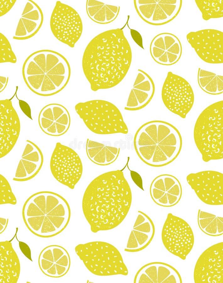 Cytryna wzór, bezszwowa wektorowa tekstura z ręka rysującym żółtym cytrusem tła świeży lato royalty ilustracja
