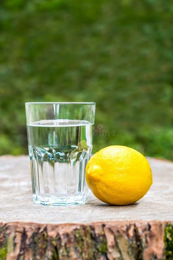 Cytryna z szkłem woda fotografia stock
