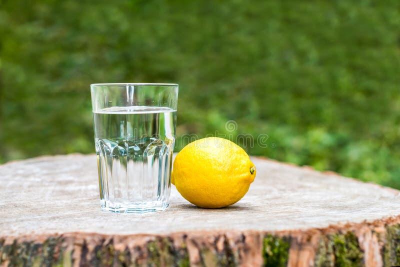 Cytryna z szkłem woda zdjęcie royalty free