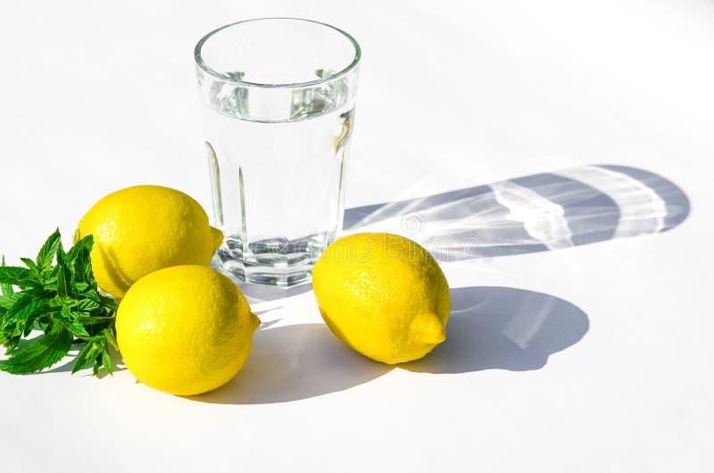 Cytryny, świeża zieleni mennica i szklany szkło z wodą na białym tle, Cienie na białym tle zdjęcie royalty free