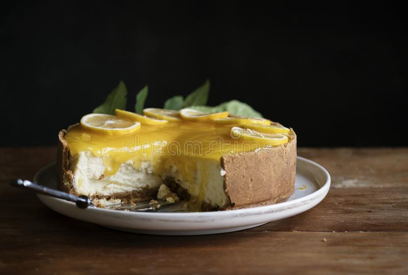 Cytryny cheesecake fotografii przepisu karmowy pomysł fotografia stock