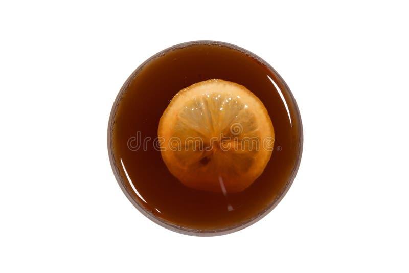 Cytryny herbacianej filiżanki odgórny widok z cytryna plasterkiem odizolowywał białego tło obrazy stock