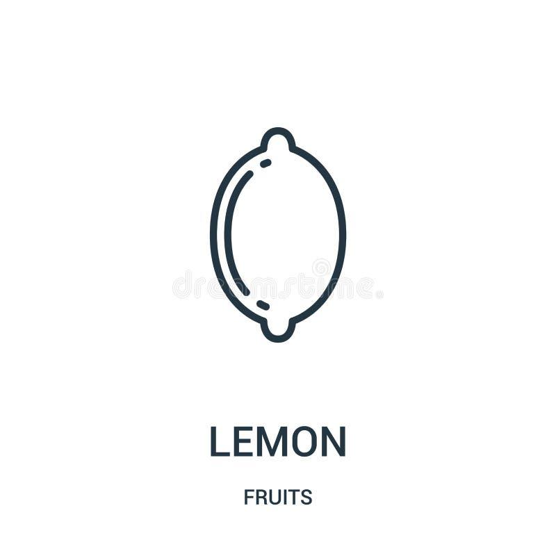 cytryny ikony wektor od owoc inkasowych Cienka kreskowa cytryna konturu ikony wektoru ilustracja Liniowy symbol dla używa na siec ilustracji