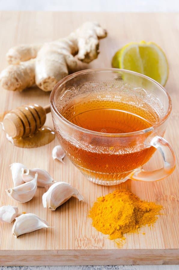 cytryny imbirowa herbata miód i tumeric dla detox fotografia royalty free