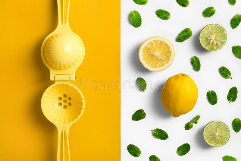 Cytryny juicer wręcza prasy, na rozłam barwiącym tle z cytryny wapnem i nowymi liśćmi zdjęcia royalty free