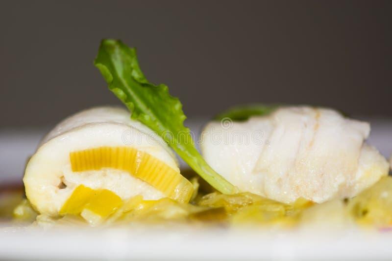 Cytryny podeszwa z leek szafranu fondue zdjęcia stock