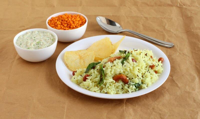 Cytryny Ryżowy Indiański Jarski śniadanie z Kokosowym Chutney jako Boczny naczynie zdjęcie royalty free