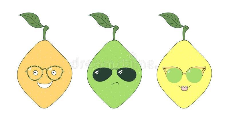 Cytryny w szkło majcherach ilustracja wektor