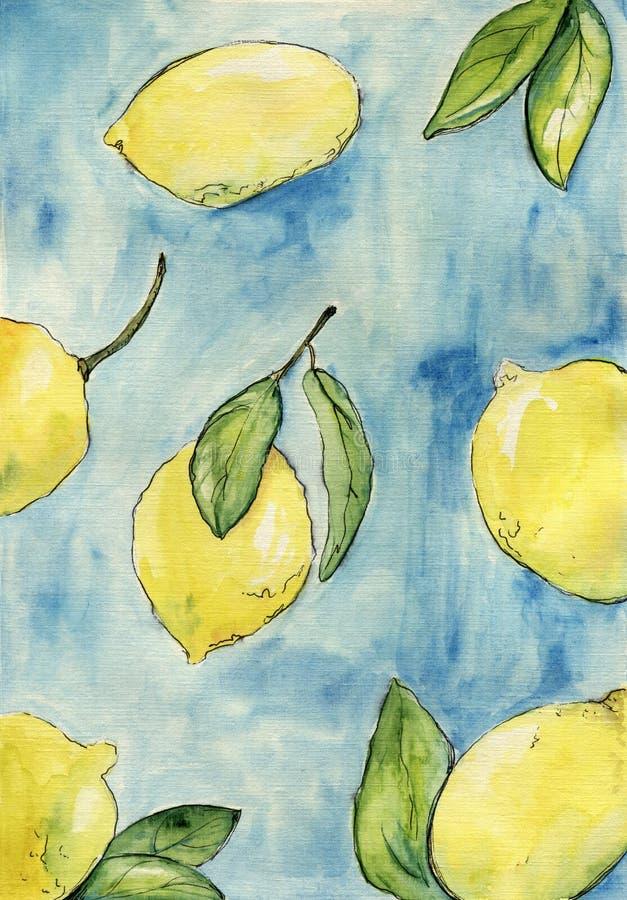 Cytryny z liśćmi na błękitnym tle beak dekoracyjnego latającego ilustracyjnego wizerunek swój papierowa kawałka dymówki akwarela ilustracja wektor