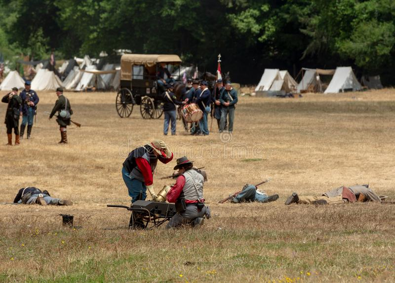 Cywilna wojna ponowna w Duncans Mleje, CA, usa zdjęcie stock