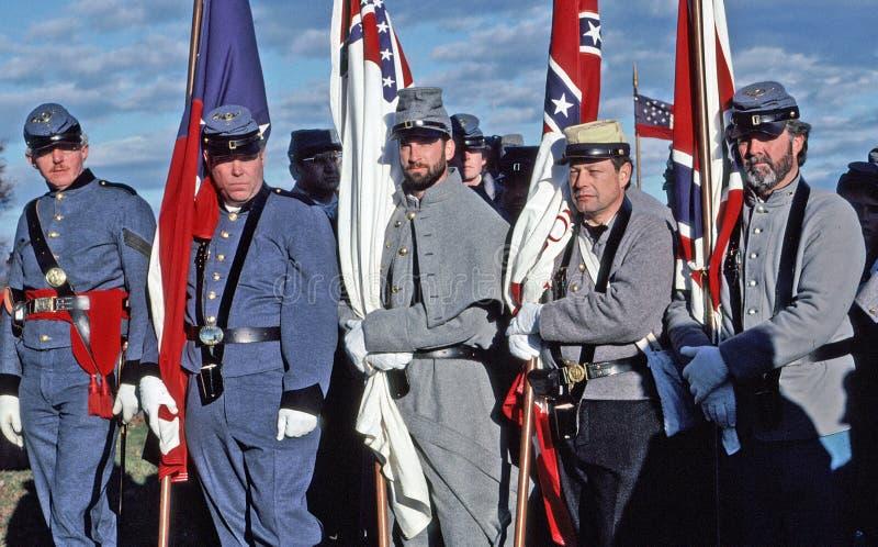 Cywilnej wojny reenactors przedstawia Konfederacyjnych żołnierzy fotografia royalty free