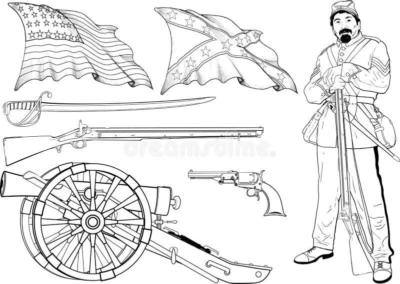 Cywilnej wojny set ilustracja wektor