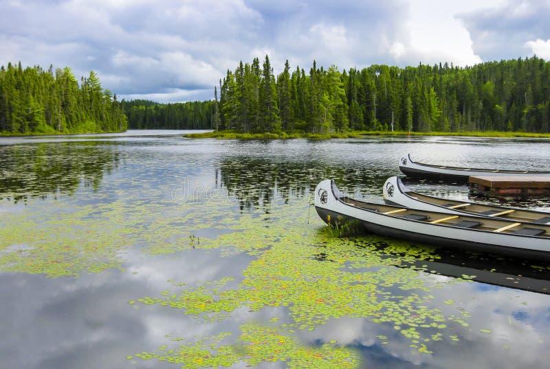 Czółna unosi się na jeziorze w Quebec, Kanada zdjęcie royalty free