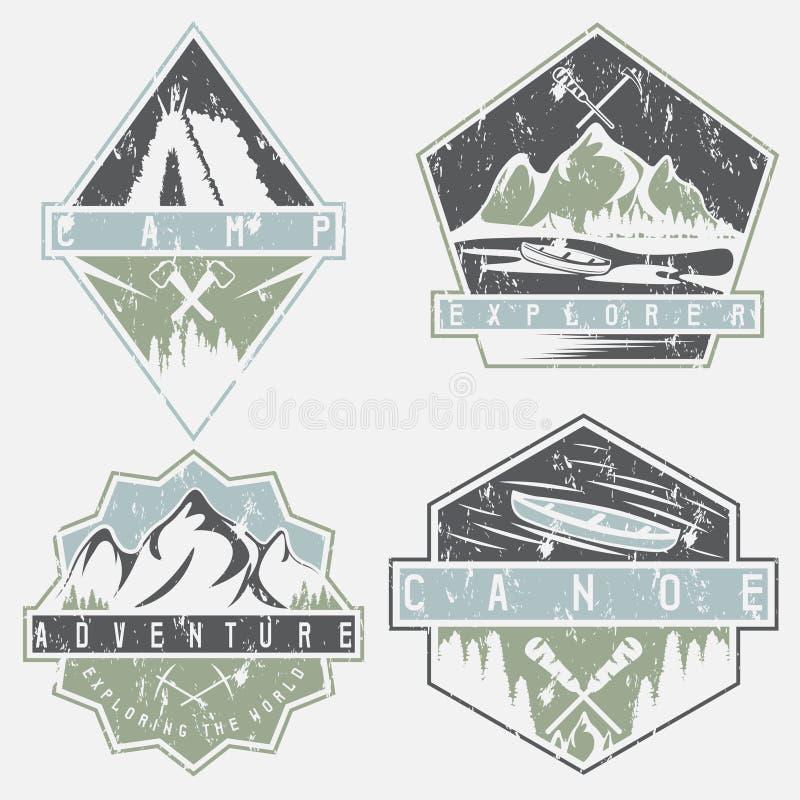 Czółno, camping i przygody grunge etykietki ustawiać, ilustracji