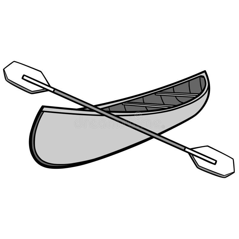 Czółno i Paddles Ilustracyjni ilustracji