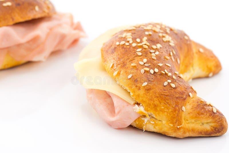 Cząberu croissant z mortadella obraz royalty free