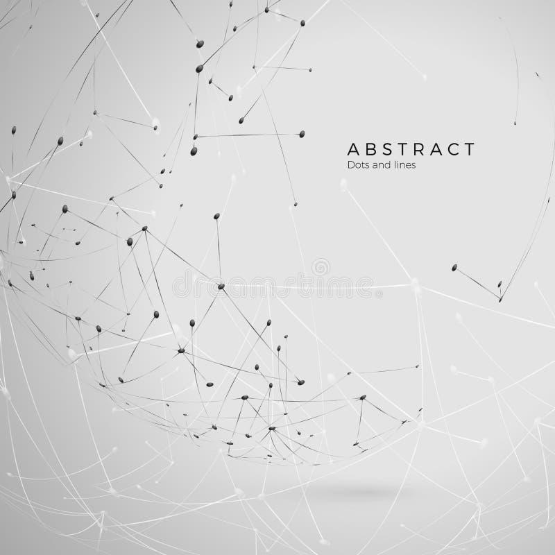 Cząsteczki abstrakcjonistyczny tło Futurystycznego plexus szyka duzi dane Atomowy i cząsteczkowy wzór wektor royalty ilustracja