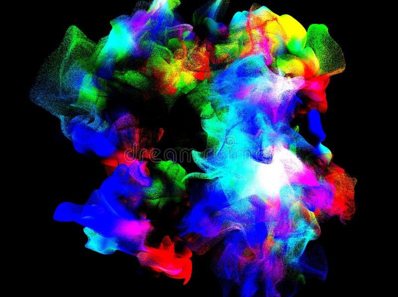 Cząsteczki barwiony opar w powietrzu, 3d ilustracja ilustracji