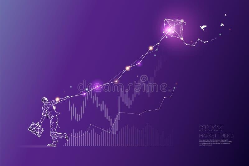 Cząsteczki, geometryczna sztuka, linia i kropka rynek papierów wartościowych, wykazywać tendencję ilustracji